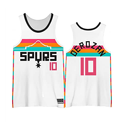 ZRHZB Spurs #10 DeRozan Camisetas de Baloncesto Jersey,Transpirable y Resistente al Desgaste Camiseta para Fan,L