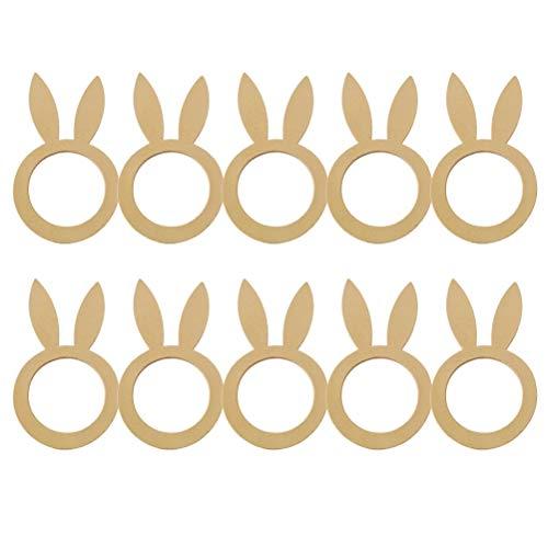 10 piezas de servilleteros de pascua, servilletero de conejo de madera, servilletero de conejito de pascua servilletero servilletero decoración de mesa para la celebración de pascua de primavera