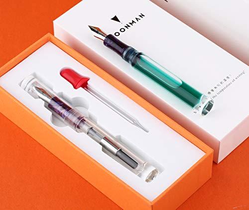 Moonman C1 Transparenter Klares Acryl Demonstrator Füllfederhalter Eye Drop Füller Riesige Tintenkapazität, feine Feder Geschenk Schreibstifte-Set