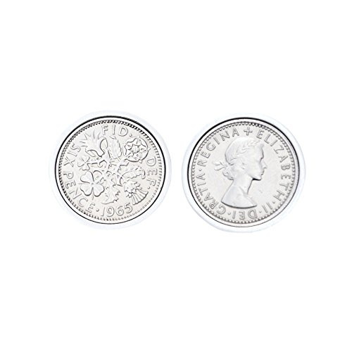 Genuine Polished Lucky Sixpence Cufflinks | 1965 coins, 55th birthday present, Gift Boxed, 1965 Anniversary