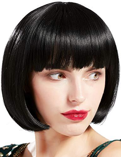 BABEYOND 1920s Flapper Short Wig Great Gatsby Bobo Wig Black Straight Wig Flapper Costume Hair Wigs Accessory (Black)