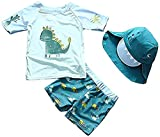 Baby Toddler Boys Two Pieces Swimsuit Set Swimwear Dinosaur Bathing Suit Rash Guards with Hat UPF 50+ (Lake Blue, 18-24 Months)