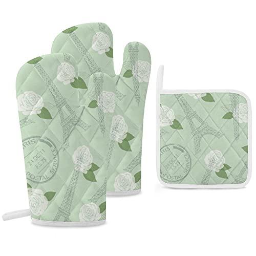 Juego de 3 soportes para ollas y guantes de horno, resistentes al calor, para cocinar y hornear, diseño vintage de Paris, estilo vintage, verde menta, elegante primavera
