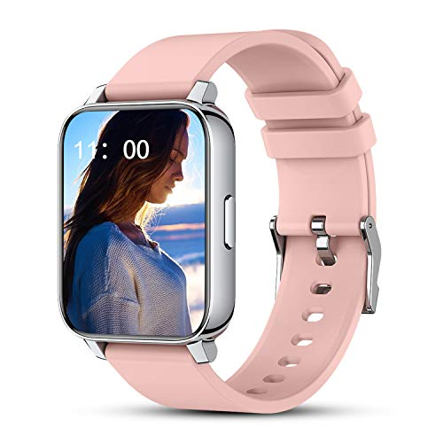 """Pink Smart Watches for Women, 1.69"""""""" Full Touch Screen Fitness Tracker with Heart Rate Sleep Monitor, Step Counter, Camera Control, Customizable Watch Faces, Smartwatch Compatible iPhone Android"""