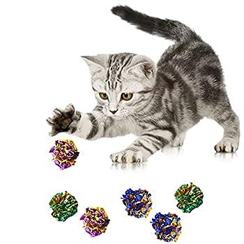24 pièces Jouet Chat , Chat Balles Colorées, Jouet pour Chat Mylar Balles Brillant Crinkle Crackle Boules Jouets de Chaton Jeux interactif (Couleur Assortie)