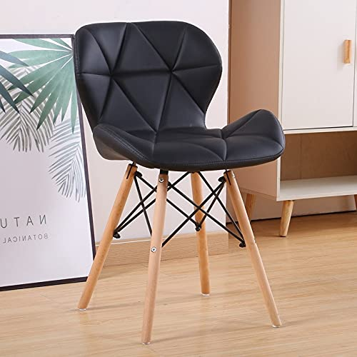 Dining Chairs Set of 4 Mid Century Modern Upholstered Kitchen Chairs Makeup Chairs with Soft PU leather Seat and Wooden Legs for Living Dinning Kitchen Bedroom