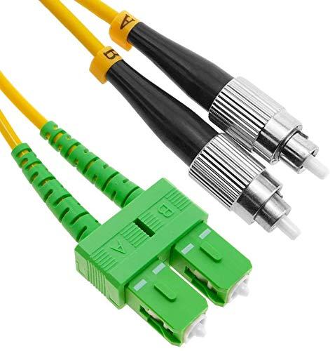 Elfcam - Cable de fibra óptica FC/PC a SC/APC Monomodo Duplex, Ligra...