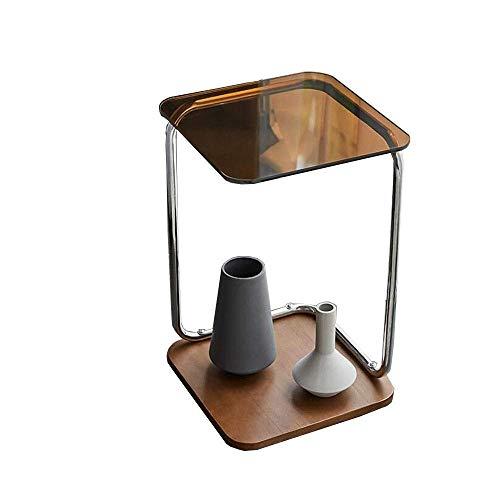 Mesa auxiliar móvil, Mesas Mesa auxiliar de sofá posmoderna, Vidrio templado marrón, Base de madera maciza, Estructura de acero inoxidable, Mesita de noche minimalista americana Mesa de centro Color: