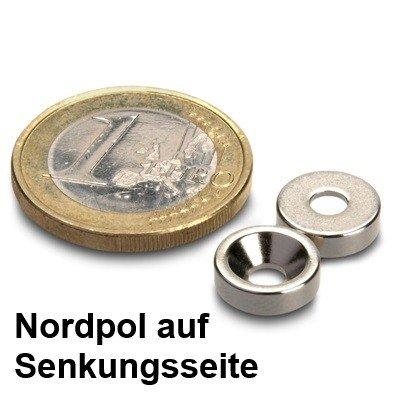 Ringmagnet Ø 10,0 x 3,4 x 3,0 mm N42 Nickel mit Senkung aus Neodym Nordpol auf Senkunsgseite, zum Anschrauben, schraubbar