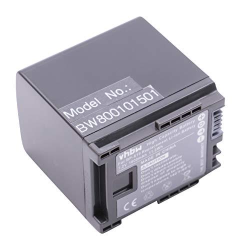 vhbw Li-Ion batería 1600mAh 7.2V con Chip de información para cámara de vídeo videocámara Canon Legria HF M41, HF M46, HF M406, XA10 sustituye BP-819