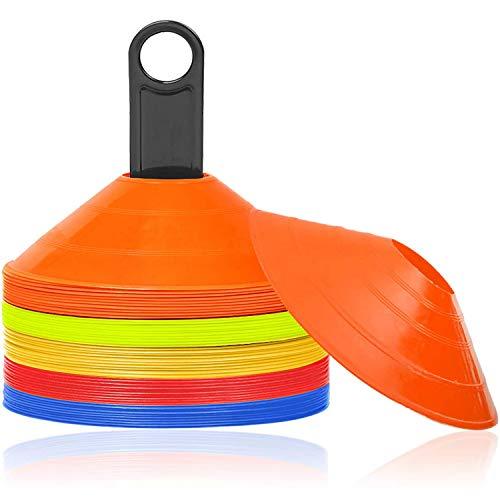 HENGMEI Markierungshütchen 50 Stück Sport Hütchen Set Markierungsteller inkl. Halter für, für das Training im Fussball, Hockey, Handball für Koordination und Agilität