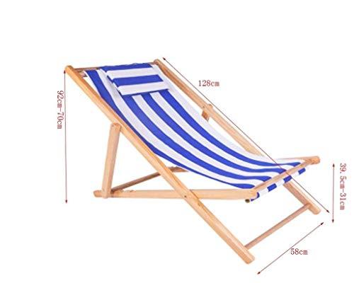 IAIZI - Chaises Longue de Plage Pliante en Bois Chaise Longue de Jardin Chaise Longue à Rayures Bleu foncé et Blanc (Color : Black)