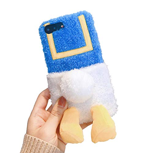 Funda de Felpa para iPhone 6 Plus/ iPhone 6S Plus, Lindo Peluche Duck Butt Suave Cálido Peludo Carcasa para iPhone 6 P/6S Plus con Función de Soporte, Funda Protectora Antigolpes para Niñas, Blue