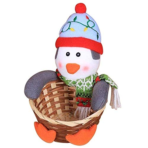 Rlmobes Christmas Candy Storage Basket Merry Christmas Party Decor Gift Basket,penguin,5.91 * 7.87 inch