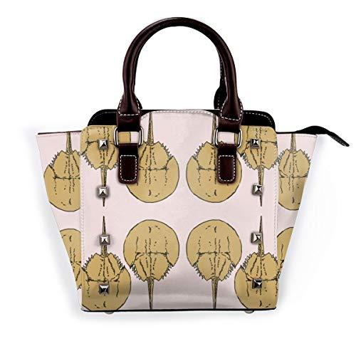 Damen-Schultertasche mit niedlichen Vögeln und schönen Blumen, aus echtem Leder, für Reisen, Schule, Handtasche, Violett - Geschenkpapier mit Krabben auf rosa - Größe: Einheitsgröße