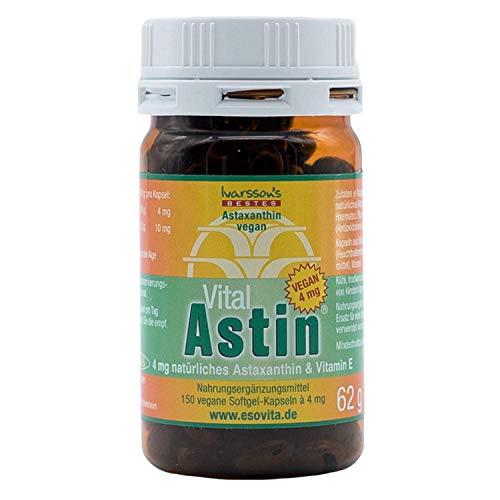 Astaxanthin I 150 Kapseln I Ivarssons VitalAstin I 4 mg natürliches Astaxanthin I Sonnenschutzkapseln mit Vitamin E I pflanzlicher Zellschutz I natürlicher Sonnenschutz I vegan