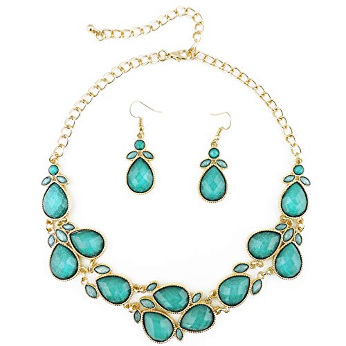 Firstmeet Shiny Resin Drill Collar Necklace with Earrings (Teal-j)