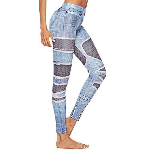 Kaicran Yoga Pants,Womens Color Block Shredded Jeans Print Leggings Workout Running Sweatpants (Blue, S)