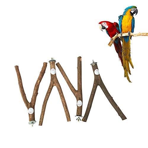 Umiwe Jaula de Madera para pájaros, Soporte para Jaula, Juguete con Campanas para Loro, Periquito, cacatúa, Cono, amaneces, Perca, cacatúa, Color Gris Africano