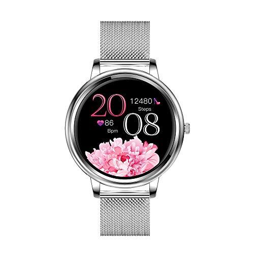 Aliwisdom Smartwatch für Damen, 1,09 Zoll Rund Smart Watch Fitness Uhr Wasserdicht Sport Armbanduhr Fitness Tracker Metallarmband für iOS Android, Mit Whatsapp SMS-Lesefunktion (Silber 1)