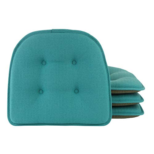 Klear Vu Omega Gripper Tufted Furniture Safe Non-Slip Dining Chair Cushion, 4 Pack, Teal 4 Count