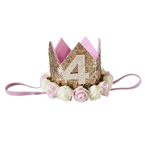 Huhu833 Baby Stirnbänder Mädchen Pailletten Kopf Zubehör Stirnband Baby Rose Elastic Geburtstag Anzahl Krone Headwear (A)