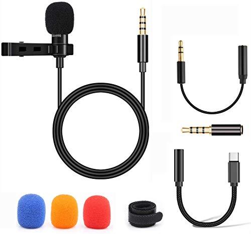 BIFY Lavalier Mikrofon für Handy und PC, Mini-Mikrofone mit 1,5 m Kabellänge und 2 Adapter,Geeignet für iPhone, Android Smartphone und PC
