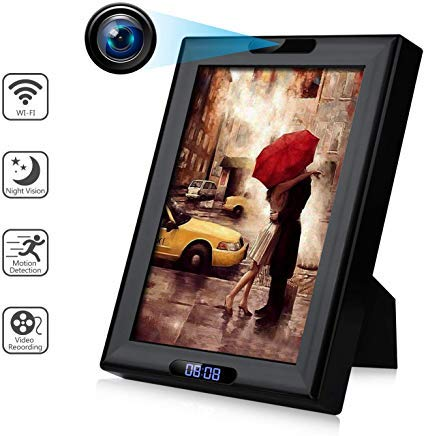 Wireless Camera Photo Frame with Clock Display HD 1080P WiFi IP Nanny Cam Home Security Cameras...