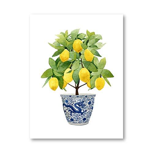 Estampado de limón Chinoiserie Jardinera Bonsai Lienzo Pintura Zen Decoración Arte Oriental Azul Blanco Estilo Sauce Póster de limón Decoración de Cocina Sin Marco 23.6'x31.5 (60x80cm)