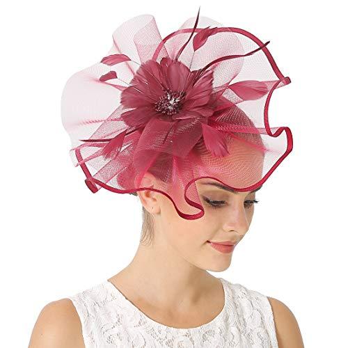 JaosWish Fascinator für Damen, Hochzeitshut, Feder, Netz-Clip, Fascinator, Haarband für Royal Ascot Cocktail Gr. Einheitsgröße, weinrot