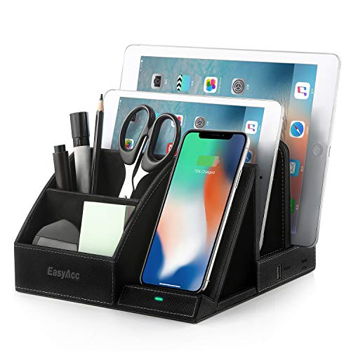 EasyAcc Fast Wireless Charger Desk Organizer Stazione di Ricarica USB, Multi-Device Charging Station Dock, Induction Charger per XS Max XR 8 Plus,S10 e S9 S8