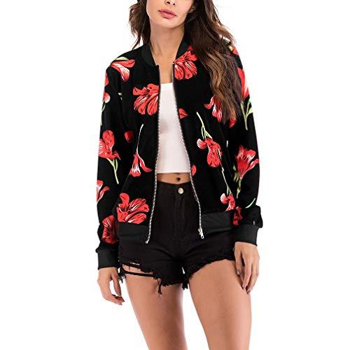 COMVIP Geblümt Damen Jacke Kurze Jacke Blouson Jacke Bomberjacke Outwear Kurz Coat für Herbst Frühling XL Schwarz-2