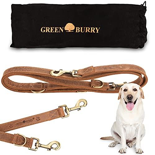 Greenburry Hundeleine Braun 200 cm - Extrem Robust aus hochwertigem und doppellagigen Rindsleder (2,5 cm breit) - Ideale Hunde Leine für Große Hunde - 3 Fach verstellbar - Rostfreier Karabinerhaken