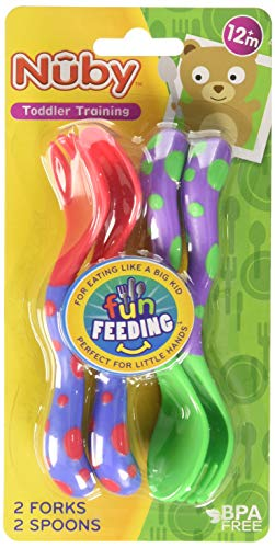 Nuby Fun Feeding Spoons & Forks 1 Pack - red/green, one size
