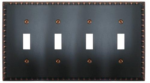 Amerelle Egg & Dart Quadruple Toggle Cast Metal Wallplate in Aged Bronze