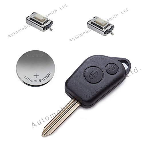 Automobile Locksmith - Kit de reparación para llave con mando para Citroen (2 botones)