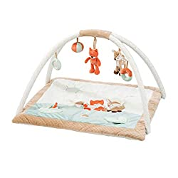 Nattou's very own fun and engaging play gym Includes a variety of activities to stimulate your baby With detachable hanging toys Machine Washable, removable hanging toys Super snuggly and beautifully soft fabric