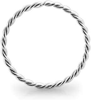 AtoZ Piercing 9KT Solid White Gold 22 Gauge (0.6MM) - 5/16 (8MM) Length Seamless Continuous Twister Hoop Nose Ring Nose Jewelry