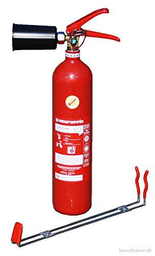 2kg CO2 Kohlendioxid Feuerlöscher FLN Neuruppin KS 2 BG Stahl (Prüfnachweis HausundWerkstatt24)