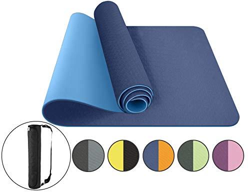 ComFyMat Yogamatte, rutschfeste Gymnastikmatte, Workout-Matte für Pilates, Meditation, Frauen, Männer, Fitness-Matte, 183cmx61cmx6mm (Marineblau/Blau)