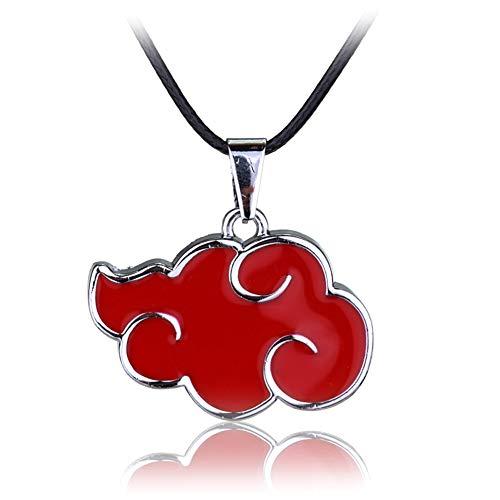 Kacoco Naruto Akatsuki Member Cosplay Red Nube Colgante Collar Collar Rojo Nube Colgante Collar Collar para Hombre y Mujer Bisutería