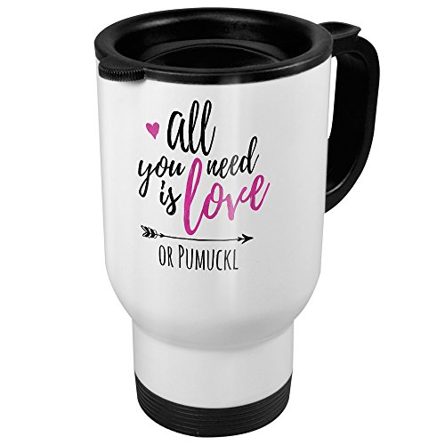 printplanet Thermobecher weiß mit Namen Pumuckl - Motiv All You Need is Love - Coffee to Go Becher, Thermo-Tasse