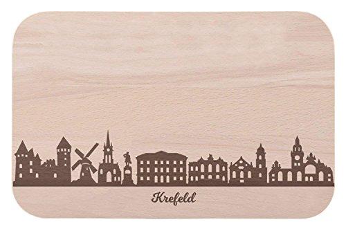 Tagliere per la colazione Krefeld con incisione riportante lo skyline, tagliere per pane & regalo per coloro che amano il quartiere cittadino di Krefeld e per i tifosi, ideale anche come souvenir