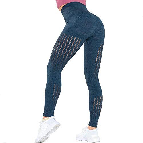 Vital Seamles Shark Fitness Leggings Mujeres Cintura Alta Hollow out Pantalones de Yoga Secado rápido Running Gym Leggings Ropa Deportiva L Azul