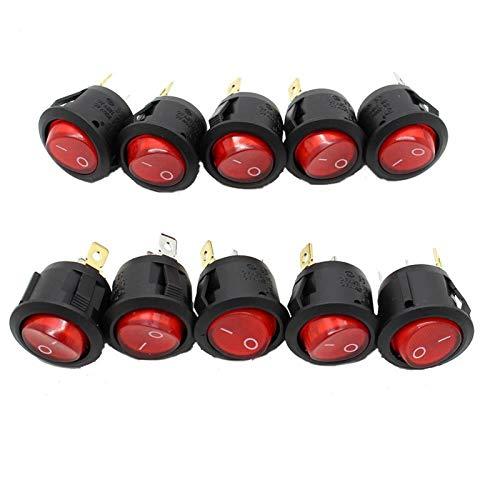 10pcs LED Rojo del Punto de luz del Coche del Barco Ronda de balancín ON/Off SPST 3 Pines Botón Activación o desactivación del Interruptor 220V 250V MAX para Coche camión Barco autocara