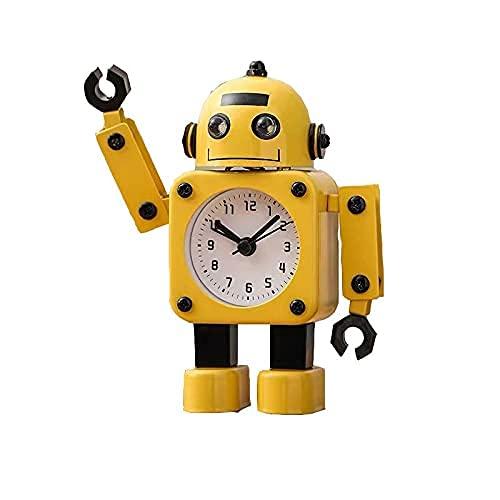 CZYNB Reloj despertador lindo robot de metal reloj despertador infantil reloj despertador estudiante simple ins mute escritorio dormitorio dormitorio pequeños adornos