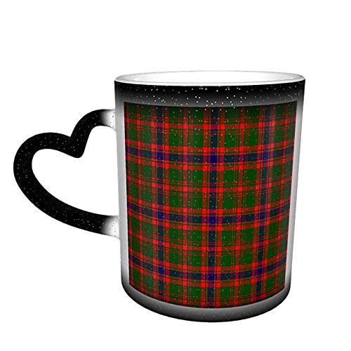 maichengxuan Taza de café a cuadros escoceses Clan Tartán Taza de café divertida de cambio de color taza de viaje taza de cerámica sensible al calor