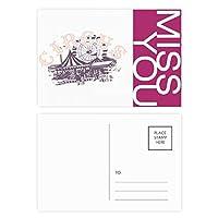 サーカスアミューズメントパークのパターン ポストカードセットサンクスカード郵送側20個ミス