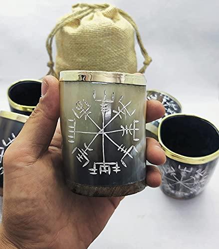 HIGHBIX Royal Wikinger Trinkhorn Schnapsglas Becher echte Handarbeit Wikinger Horn Becher Original Mittelalter Becher mit klassischem Jutebeutel (2)