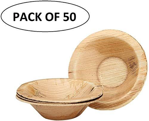 ASP Online Traders Pack van 50 Wegwerp Palm Leaf Soep Bowls Biologisch afbreekbare Houten Bowls voor het serveren van voedsel wegwerp Dinnerware Bulk Set Bowls voor bruiloften Feesten Evenementen Salade Bowls Dip Bowls